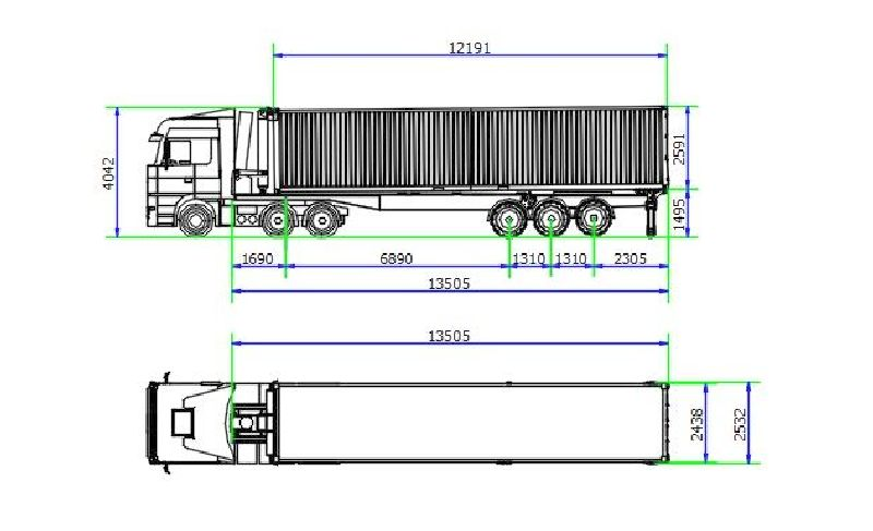 40'/45' ISO-Container Abrollkipper ContiLift CHU-40 - Transportmodus
